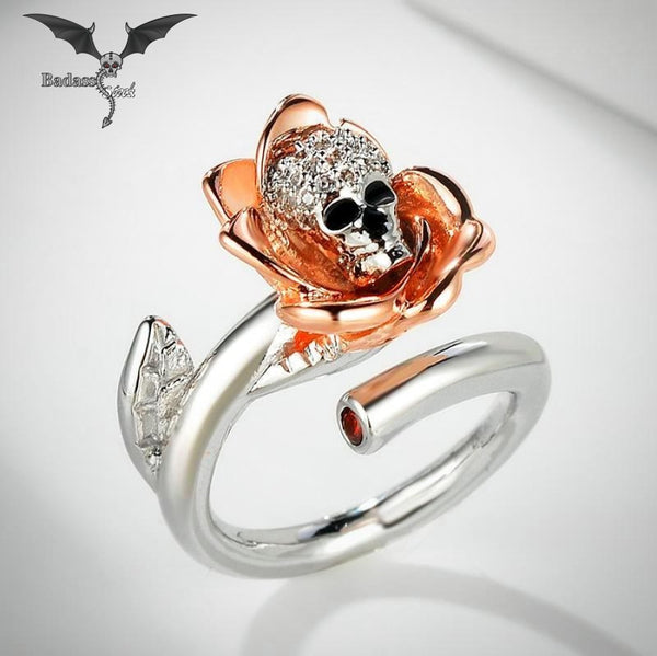 Skull in Roses Ring ring Badass Stock