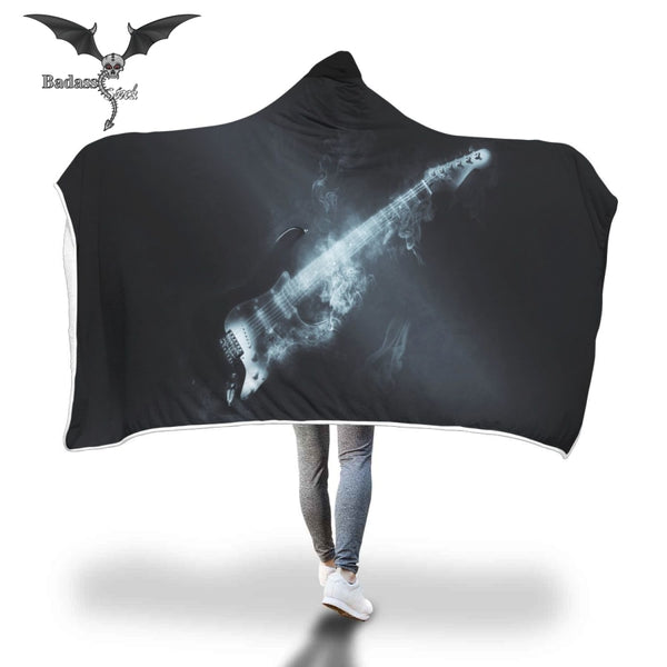 Smoking Black Guitar Hooded Blanket Badass Stock