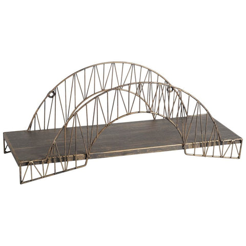 Aberdeen, Brass Metal Arched Bridge Wall Shelf