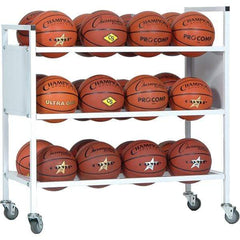 Champion Sports 24 Basketball Double Wide Ball Cart 24BC