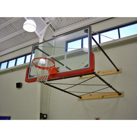 Gared Four Point Stationary Basketball Wall Mount Package with Glass Backboard