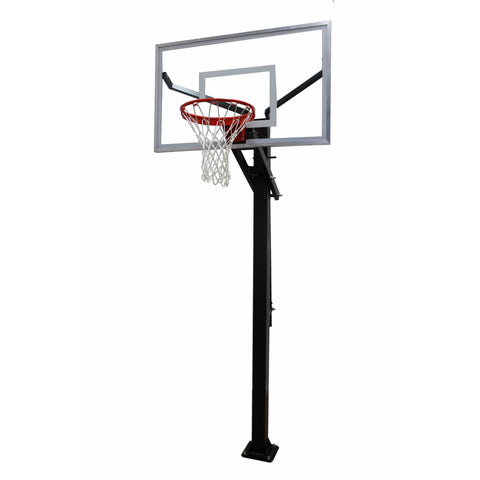 "Gared Varsity Jam Adjustable Basketball Hoop with 36"" x 60"" Glass Board GP7G60"