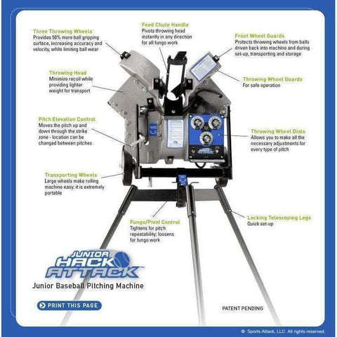 Sports Attack Junior Hack Attack Baseball Pitching Machine 102-1100