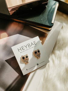 Sparkle Owl Stud Earrings