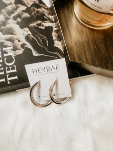 Sparkling Silver Hoop Earrings by HEYBAE 1