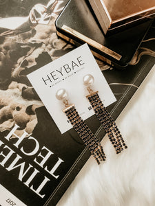 Yada Stud Pearl Long Drop Earrings by HEYBAE 3