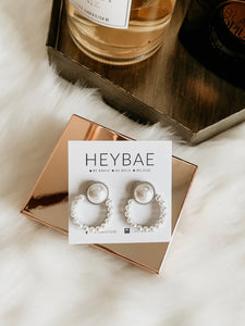 Pearl Stud Round Earrings by HEYBAE 4