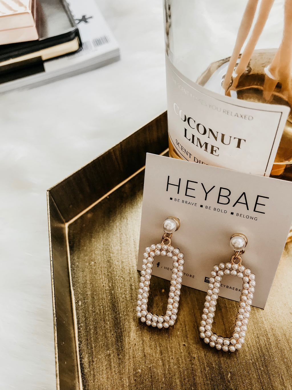 Mini Pearl Drop Earrings by HEYBAE 1