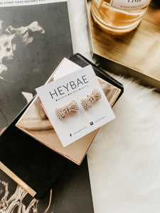 Mini Bow Stud Earrings by HEYBAE