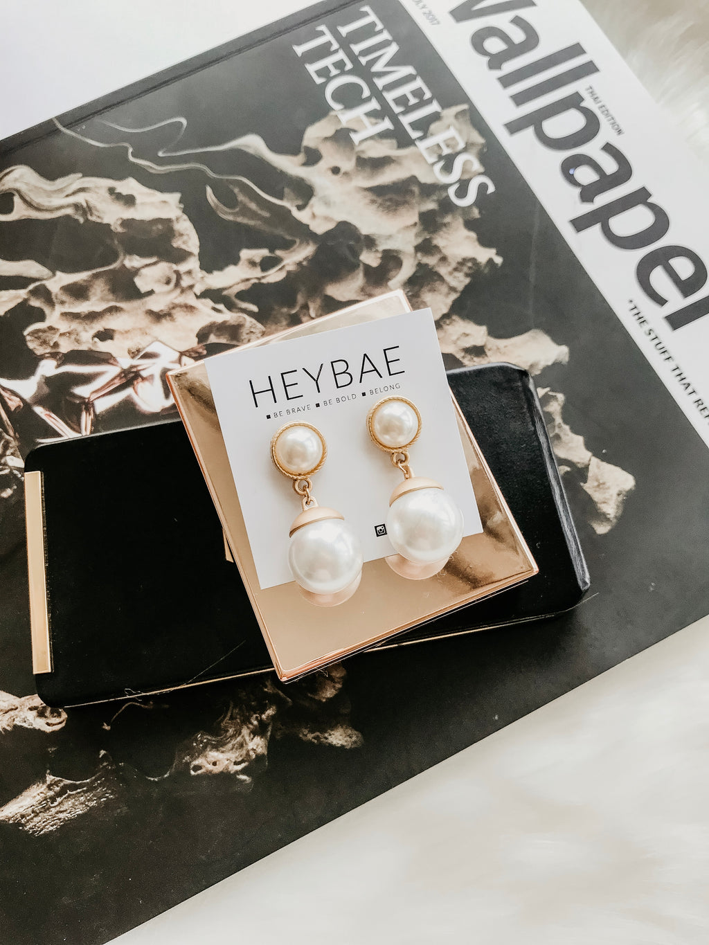Audrey Pearl Drop Earrings by HEYBAE
