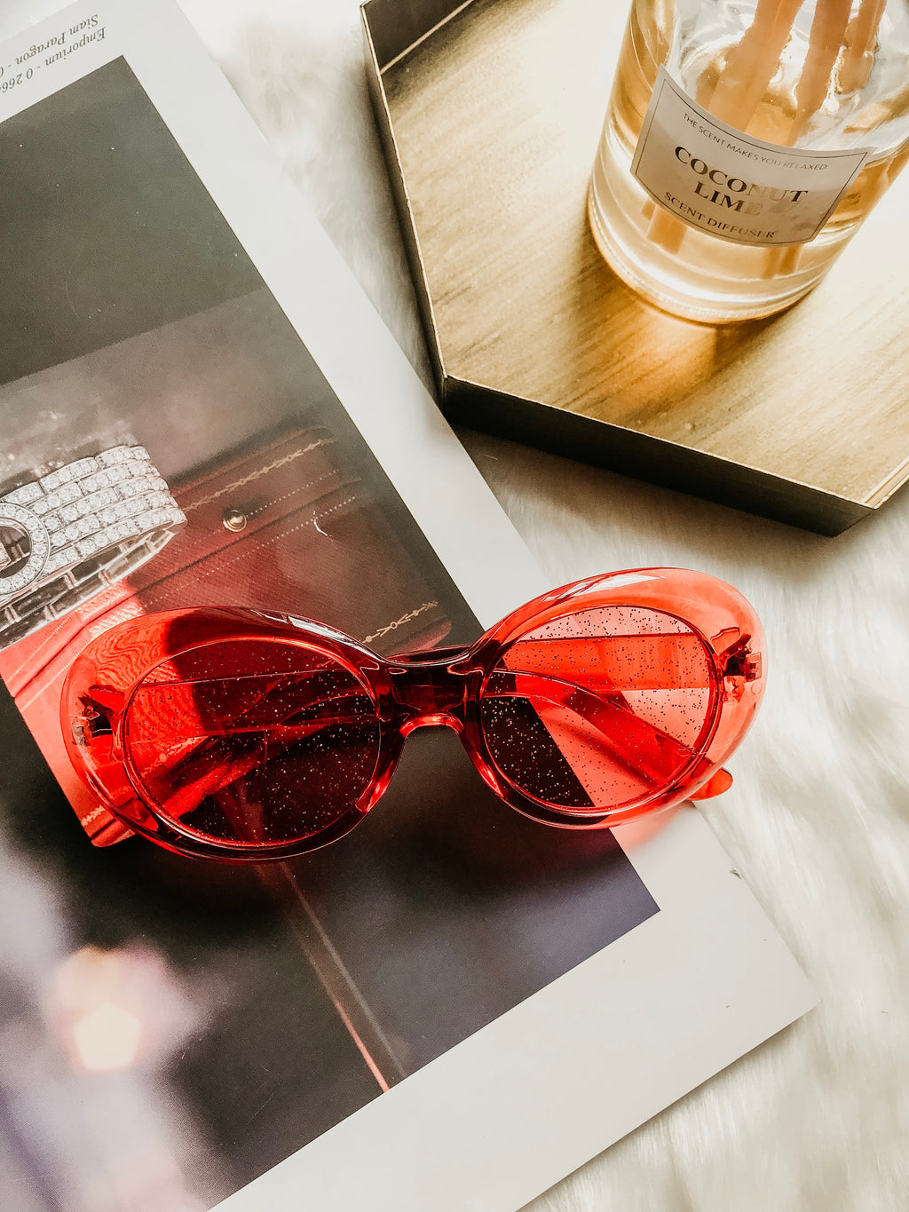 Red Transparent Sunglasses by HEYBAE