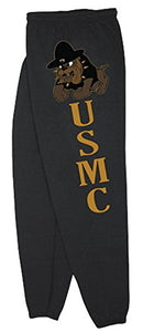 US Marines USMC Sweatpants,Large,Marines Bulldog Black