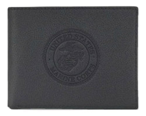 US Armed Forces Collection Mens Genuine Leather Wallets - Gift Boxed Bi-Fold and Tri-Fold Leather Wallets (US Marines Bi-Fold, Black)