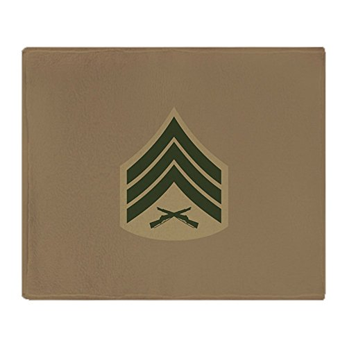 CafePress USMC: Sgt E-5 (Service B) - Soft Fleece Throw Blanket, 50
