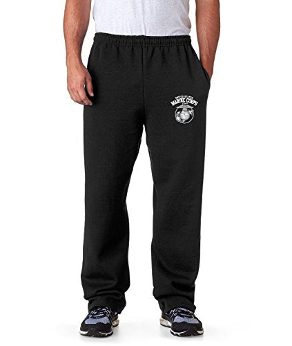 United States Marine Corps Sweatpants Military Mens Pants S-3XL (Black, XL)