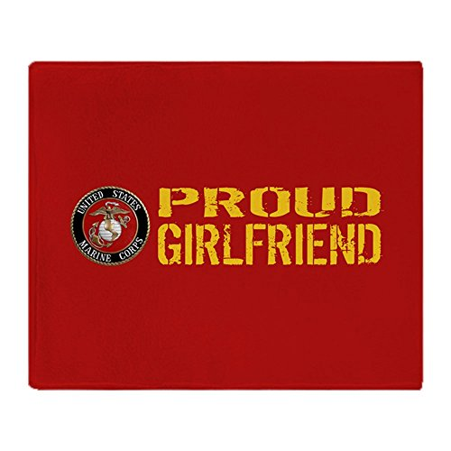 CafePress USMC: Proud Girlfriend (Red & Gold) - Soft Fleece Throw Blanket, 50