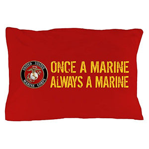 "CafePress USMC: Once A Marine (Red & Gold) - Standard Size Pillow Case, 20""x30"" Pillow Cover, Unique Pillow Slip"