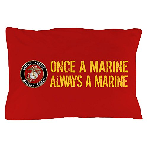 CafePress USMC: Once A Marine (Red & Gold) - Standard Size Pillow Case, 20