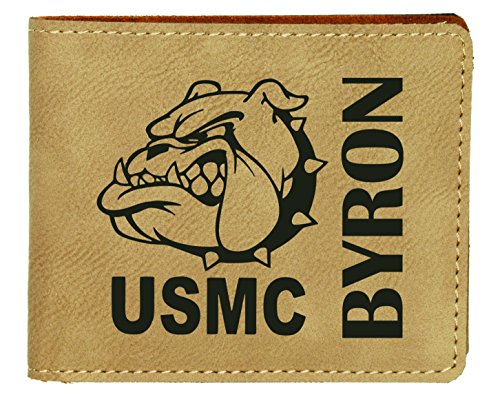 Devil Dog USMC Light Brown Leatherette Bifold Wallet