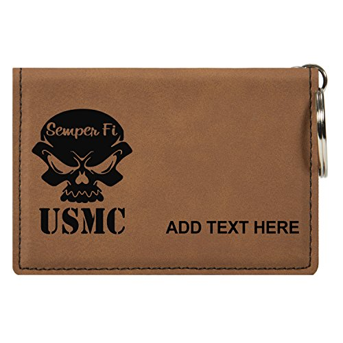 Personalized Engraved USMC Semper Fi Skull Faux Leather Keychain Wallet, Rawhide
