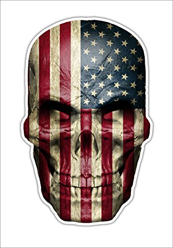 American Flag Skull Decal USA Sticker Military Vinyl Graphic USA