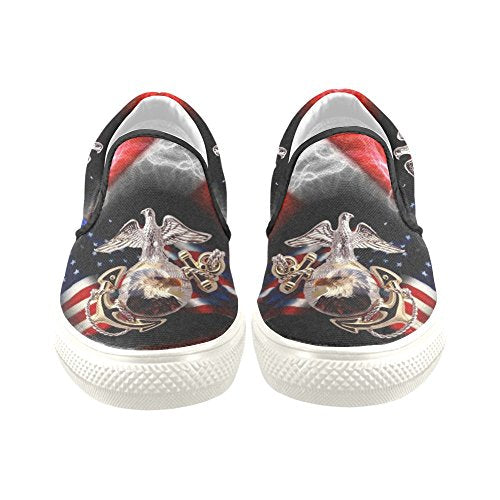 D-Story Custom USMC US Marine Corps Men's Canvas Shoes Fashion Shoes Sneaker