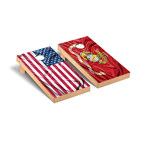 US & USMC Marines Split Rippled Flag Cornhole Game Set