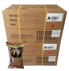 ULTIMATE MRE Case A and Case B Bundle, 24 Meals with 2018 Inspection Date. Military Surplus Meal Ready to Eat with Western Frontier's Inspection and Guarantee.