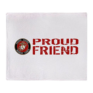 "CafePress USMC: Proud Friend (Red & White) - Soft Fleece Throw Blanket, 50""x60"" Stadium Blanket"