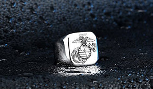 USMC US Marine Corps Marines Emblem Mens Solid Silver Stainless Steel Ring