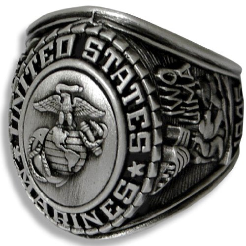 US Marines Insignia Ring - Silver Colored Marine Corps Veteran Ring - Military Collectibles