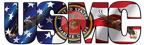 USMC Marine Corps American Flag Eagle Lettering Large Decal 12