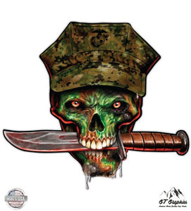 "Marine Skull - 5"" Vinyl Sticker - For Car Laptop I-Pad - Waterproof Decal"