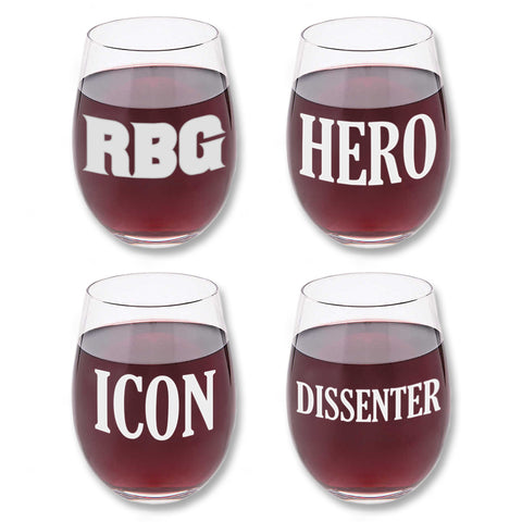 Official RBG Movie Ruth Bader Ginsburg Wine Glass Set