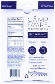 Beef Burgundy with field vegetables. Ready to eat and fully hydrated. Not freeze dried or dehydrated. Gourmet camping meals and great idea for camping food. Easy to prepare and high quality.