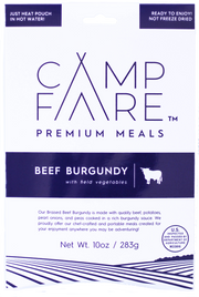 Beef Burgundy stew with field vegetables is fully hydrated and ready to eat gourmet camping meals. Great for you next camping trip. Not freeze dried or dehydrated. Delicious food easy to prepare.