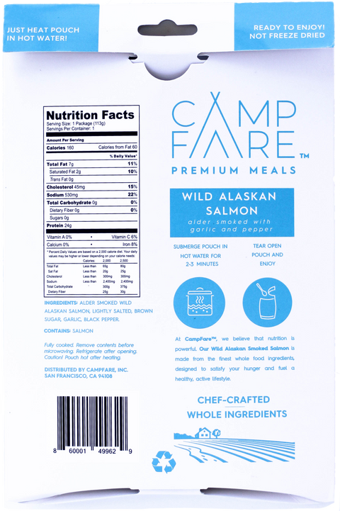 Easy to prepare wild alaskan salmon camping meal. Each pouch is not dehydrated or freeze dried and prepares simply by heating entire pouch in hot water for 2 minutes. Gourmet camping food protein.