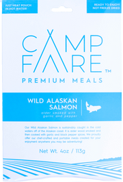 Ready to eat Wild Salmon filet camping meal. Fully hydrated. Gourmet. Delicious