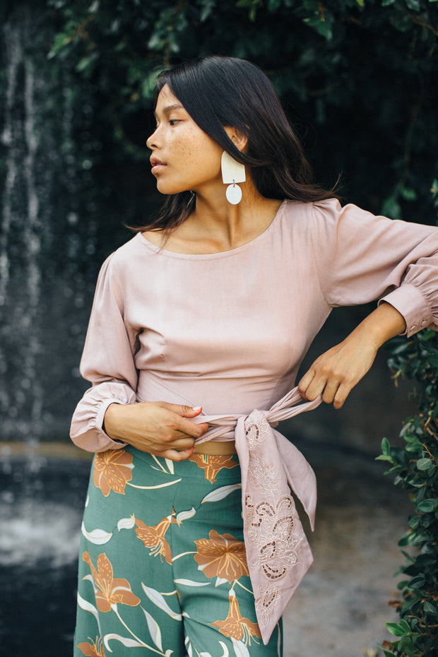 Camilla Wrap Top in Sand - YIREH