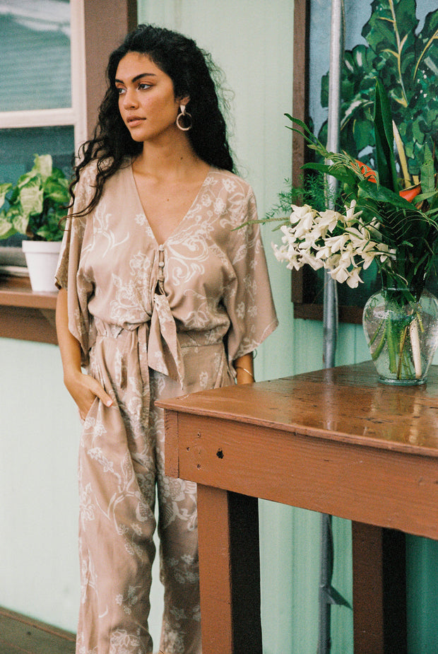 Dixie Jumpsuit in Watercolor Nude