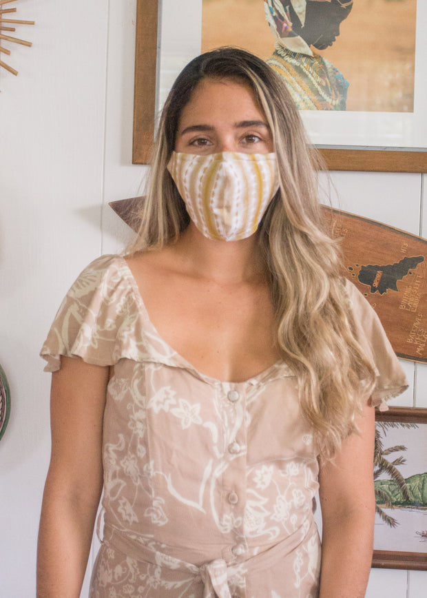 Shibori Teal Face Mask