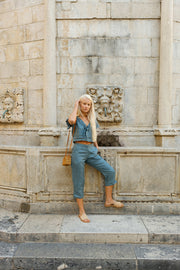 London Linen Pant in Azure - YIREH
