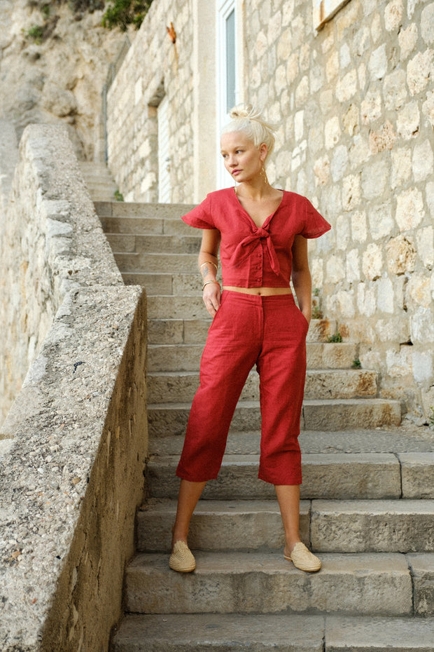London Linen Pant in Cardinal - YIREH