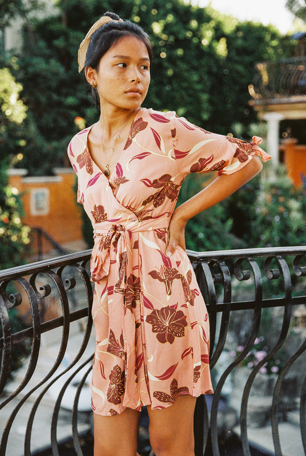 Leila Wrap Dress in Desert Lilly - YIREH