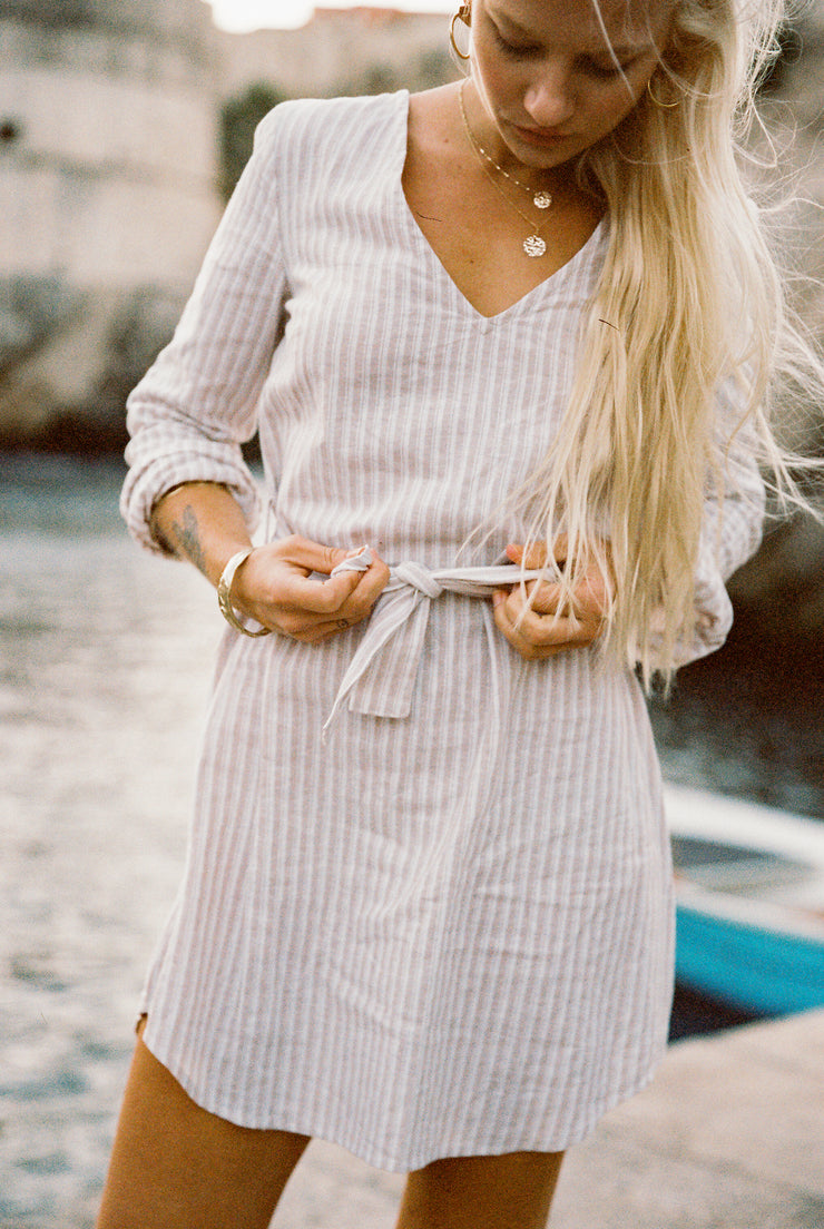 Midori Dress in Sand Stripe