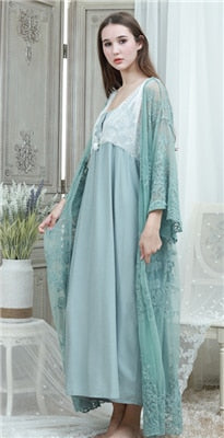 Lace Robe & Gown Set Women Long Nightgowns Vintage Sleepwear Elegant Loose Robe Set