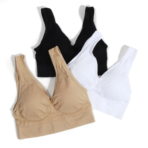 3pcs/set Sexy Seamless Bra Breathable Brassiere Women Rimless Sleeping Padded Bras Plus Size for Women