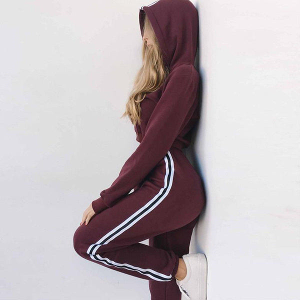 Women's 2pc Set Hoodies Crop Top Sweatshirt+Side Stripe Pants