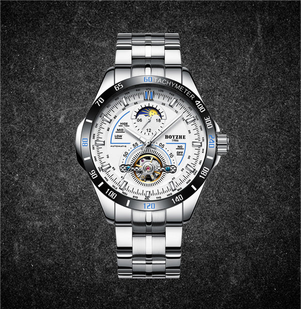 BOYZHE Men's Automatic Mechanical Fashion Top Brand Sport Watches Moon Phase Stainless Steel Watch