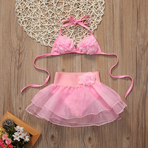 Girls 2pcs/set Swimsuit Children Girls Sweet Floral Bikini Set